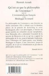 Qu'Est-Ce Que La Philosophie De L'Existence ? N 400 - 4ème de couverture - Format classique