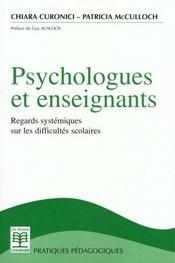 Psychologues Et Enseignants Regards System. Sur Difficultes Scolaire - Intérieur - Format classique
