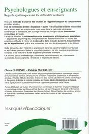 Psychologues Et Enseignants Regards System. Sur Difficultes Scolaire - 4ème de couverture - Format classique