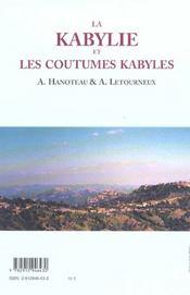 La Kabylie et les coutumes kabyles - 4ème de couverture - Format classique