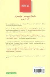 Introduction Generale Au Droit ; 7e Edition 2001 - 4ème de couverture - Format classique