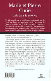 Pierre Et Marie Curie - 4ème de couverture - Format classique