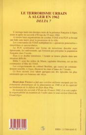 Le Terrorisme Urbain A Alger En 1962, Delta 7 - 4ème de couverture - Format classique