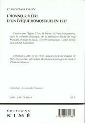 Honneur Fletri D'Un Eveque Homosexuel En 1937 (L') - 4ème de couverture - Format classique