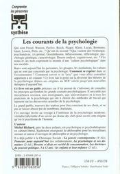 Les courants de la psychologie - 4ème de couverture - Format classique
