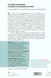 Un Genre Universitaire : Le Rapport De Soutenance De These - 4ème de couverture - Format classique