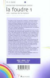 Protection domestique contre la foudre vol 1. autour de la maison - 4ème de couverture - Format classique