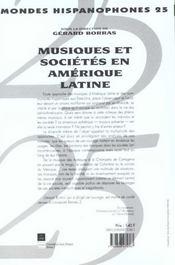 Mondes Hispanophones T.25 ; Musique Et Société En Amérique Latine - 4ème de couverture - Format classique