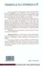 Tocqueville Ou L'Intranquilite - 4ème de couverture - Format classique