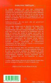 Parlons tibétain - 4ème de couverture - Format classique
