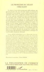 Le Probleme Du Neant Chez Kant - 4ème de couverture - Format classique