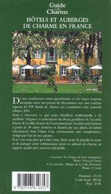 Hotels et auberges de charme en france - 4ème de couverture - Format classique