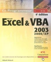 Macros Excel 2003 Et Vba - Couverture - Format classique