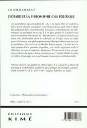 Lyotard Et La Pholosophie Du Politique - 4ème de couverture - Format classique