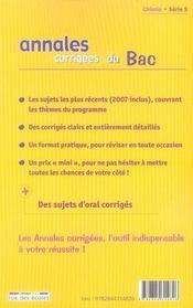 Annales Corrigees T.11 ; Chimie ; Enseignement Obligatoire Et De Spécialité ; Terminale S (Edition 2008) - 4ème de couverture - Format classique