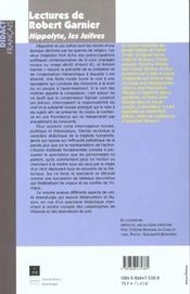 Lectures De Robert Garnier - 4ème de couverture - Format classique
