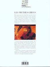 Les mythes grecs - 4ème de couverture - Format classique