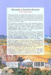 Revue Histoire Et Societes Rurales N.13 - 4ème de couverture - Format classique