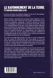 Le Rayonnement De La Terre Et Son Influence Sur La Vie - 4ème de couverture - Format classique