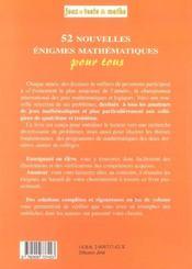 52 Nouvelles Enigmes Pour Tous 4/3 - 4ème de couverture - Format classique