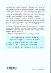 Epreuves Corrigees D'Examens Et De Partiels Filieres Deug A Mias Sm 1re Annee - 4ème de couverture - Format classique
