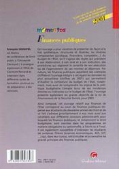 Finances publiques 2001 - 4ème de couverture - Format classique