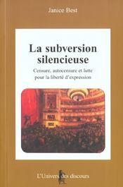 La subversion silencieuse - Intérieur - Format classique