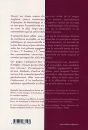 La Version Anglaise Lire Traduire Commenter Classes Preparatoires Universite Capes Agregation - 4ème de couverture - Format classique