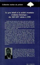 Le Gros Betail Et La Societe Rwandaise ; Evolution Historique Des Xii-Xiv Siecles A 1958 - 4ème de couverture - Format classique