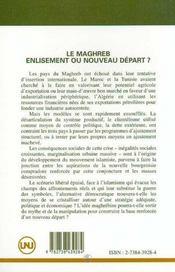 Le Maghreb : Enlisement Ou Nouveau Depart ? - 4ème de couverture - Format classique