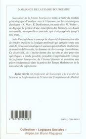 Naissance De La Femme Bourgeoise - 4ème de couverture - Format classique