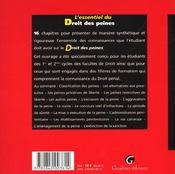 Essentiel Du Droit Des Peines (L') - 4ème de couverture - Format classique
