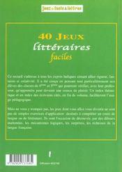 40 Jeux Litteraires Faciles - 4ème de couverture - Format classique