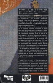 Femmes D'Asie Centrale ; Genre Et Mutations Dans Les Societes Musulmanes Sovietisees - 4ème de couverture - Format classique