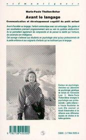 Avant Le Langage - 4ème de couverture - Format classique