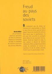 Freud Au Pays Des Soviets - 4ème de couverture - Format classique