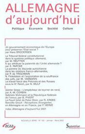 Revue Allemagne D'Aujourd'Hui N.159 ; (Edition Janvier-Mars 2002) - Intérieur - Format classique