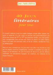 40 Jeux Litteraires Pour Tous - 4ème de couverture - Format classique