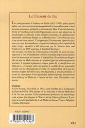 Le faiseur de feu ; la vie et les enseignements spirituels d'anthony de mello - 4ème de couverture - Format classique
