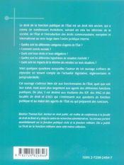 Droit De La Fonction Publique De L'Etat - 4ème de couverture - Format classique