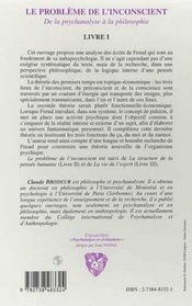 Le Probleme De L'Inconscient T.1 De La Psychanalyse A La Philosophie - 4ème de couverture - Format classique