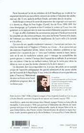 Les cours d'adulte de pierre sacreste ; instituteur de la iii republique - 4ème de couverture - Format classique