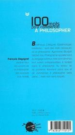 Cent Mots Pour Commencer A Philosopher - 4ème de couverture - Format classique