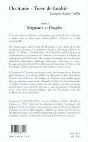 Occitanie terre de fatalite t.1 ; seigneurs et peuples - 4ème de couverture - Format classique