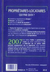 Propriétaires locataires ; qui paie quoi ? (édition 2007) - 4ème de couverture - Format classique