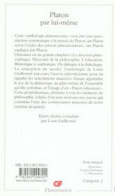 Platon Par Lui-Meme - 4ème de couverture - Format classique
