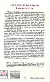 Les Chemins De L'Islam A Madagascar - 4ème de couverture - Format classique