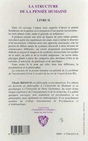 La Structure De La Pensee Humaine T.2 - 4ème de couverture - Format classique