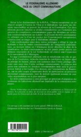 Le Federalisme Allemand Face Au Droit Communautaire - 4ème de couverture - Format classique