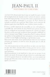 Modele Hors Pair - Jean-Paul Ii Nous Parle Du Cure D Ars - 4ème de couverture - Format classique